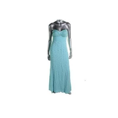 海外セレクション ドレス ワンピース JS コレクションs 9574 レディース ブルー Full-Length Sequined Evening ドレス Gown 8 BHFO