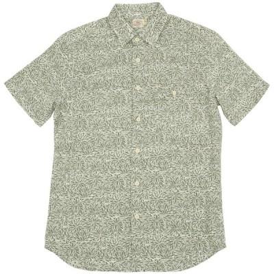 FAHERTY BRAND (ファリティ ブランド) リネンブレンド Island 半袖 シャツ 葉柄 グリーン x ホワイト メンズ