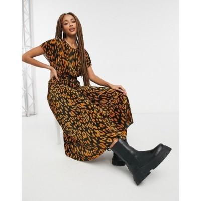 エイソス レディース ワンピース トップス ASOS DESIGN plisse midi dress with rope belt in camel and black animal print