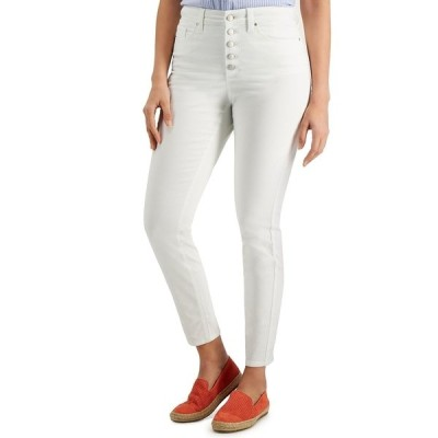 チャータークラブ デニムパンツ ボトムス レディース Petite Button-Front Windham Skinny Jeans, Created for Macy's Bright White