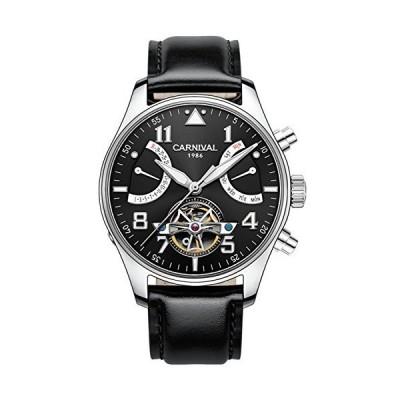 (新品) CARNIVAL Mens Automatic Silver Stainless Steel Sapphire Waterproof Luminous Mens's Black Leaher Watch
