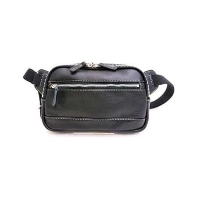 [ベイソン] ボディバッグ カーフレザー 牛革 日本製兵庫県豊岡市 革鞄 TY-125 (ブラック)
