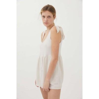 アーバンアウトフィッターズ Urban Outfitters レディース オールインワン ワンピース・ドレス UO Marlee Knit Tie-Shoulder Romper Cream