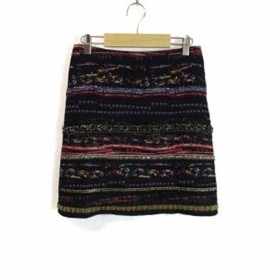 【中古】ボディードレッシング BODY DRESSING スカート 台形 ミニ ビーズ 装飾 サイドジッパー 38 マルチ レディース