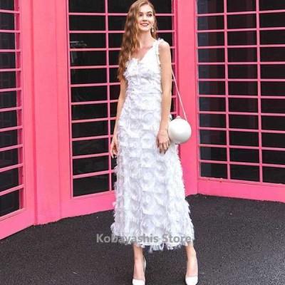 ホワイト白ノースリーブロングパーティードレスキレイめ上品発表会誕生日演奏会ドレス30代40代お呼ばれ成人式イブニングドレス