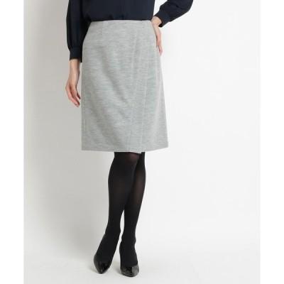 スカート ラップ風ウール混スカート