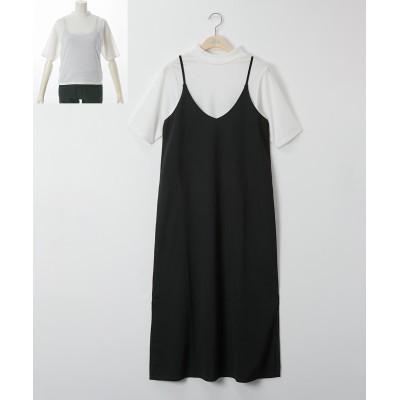 大きいサイズ 2点セット(キャミワンピース+プチハイプルオーバー) ,スマイルランド, ワンピース, plus size dress
