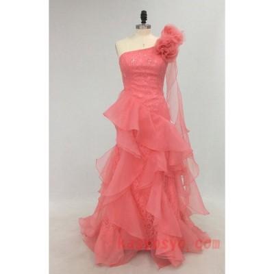 P031718 ピンクのかわいらしいコサージュ付き ワンショルダー スレンダータイプ カラードレス