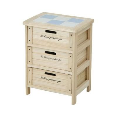 ワゴン キッチンストッカー 桐材 木製3段BOX