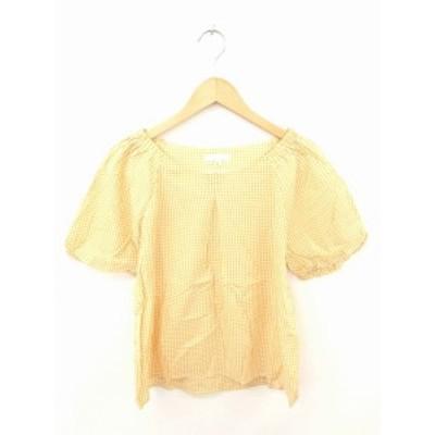 【中古】ザショップティーケー THE SHOP TK カットソー Tシャツ 丸首 チェック コットン 半袖 L マスタード ホワイト