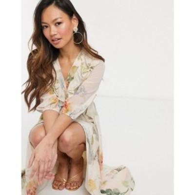 ホープ&アイビー Hope and Ivy レディース ワンピース ワンピース・ドレス plunge midaxi tea dress in meadow floral マルチカラー