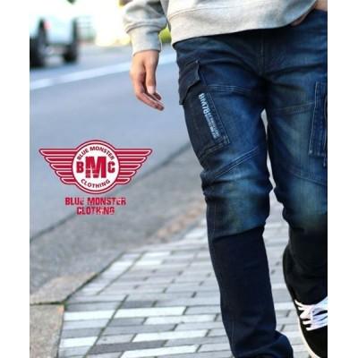 (MARUKAWA/マルカワ)【BLUE MONSTER CLOTHING】BMC ブルーモンスタークロージング デニムカーゴパンツ タイトテーパード/作業着 ワーク ストレッチ/メンズ ネイビー