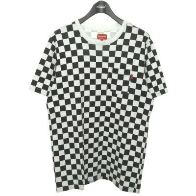 SUPREME 2017SS 「Pocket Tee Checker」 チェッカーフラッグポケットTシャツ ホワイト×ブラック サイズ:M (渋谷店)