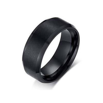 Rockyu ジュエリー ブランド アクセサリー チタン指輪 リング メンズ レディース 平打ち ブラック 指輪 13号