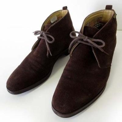 【中古】バーバリー BURBERRY ブーツ チャッカブーツ 本革 スエード レザー 25.5cm ダークブラウン くつ 靴 シューズ