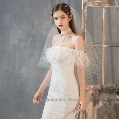 ボートネックオフショルダーマーメイドドレスウェデイングドレスお洒落結婚式ドレス花嫁ドレスブライダルトレーンドレスホワイトドレス