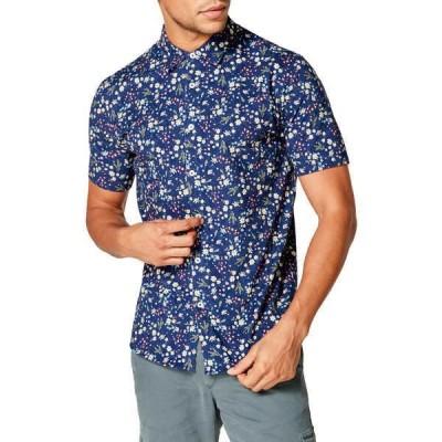 グッドマンブランド メンズ シャツ トップス Flex Pro Slim Fit Print Short Sleeve Button-Up Shirt BLUE HANABIRA BLOOMS