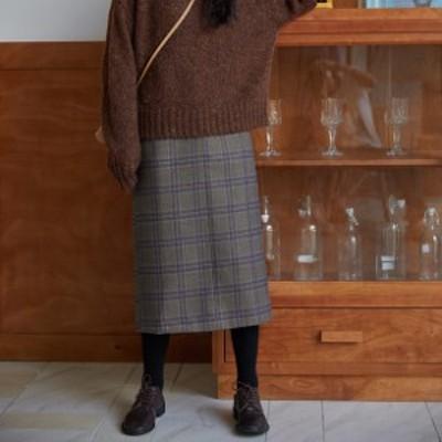 ハイウエスト ミモレ丈タイトスカートミディアム丈 体型カバー チェック柄 オフィス 大人可愛い ガーリー カジュアル 韓国ファッション