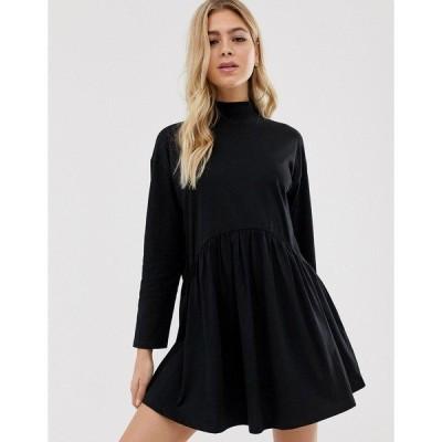 エイソス レディース ワンピース トップス ASOS DESIGN high neck curve seam smock dress in black Black