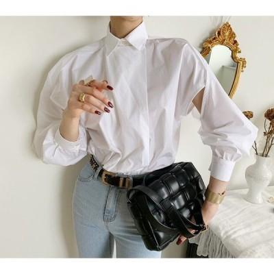 ブラウス レディース ファッション 長袖 40代 30代 50代 春 春物 春服装 夏 秋 デザインブラウス サイドスリット 大人カジュアル