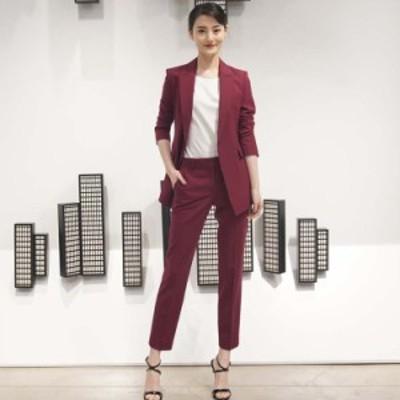 韓国 ファッション レディース セットアップ パンツスーツ レッド テーラードジャケット テーラードパンツ  ゆったり 2点セット 上下セッ