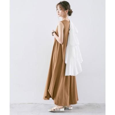 ファッションレター Fashion Letter オーガニックコットンノースリーブAラインフレアロングワンピース 21SS (ブラウン)