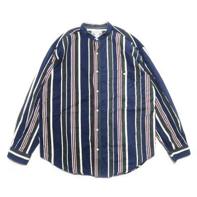 MERONA コットン ノーカラーシャツ  ストライプ柄 サイズ表記:L