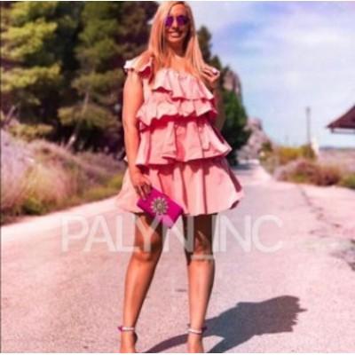 ファッション ドレス NWT ZARA SS19 LIMITED EDITION RUFFLED ASYMMETRIC DRESS DUSTY PINK 2810/258_XS S