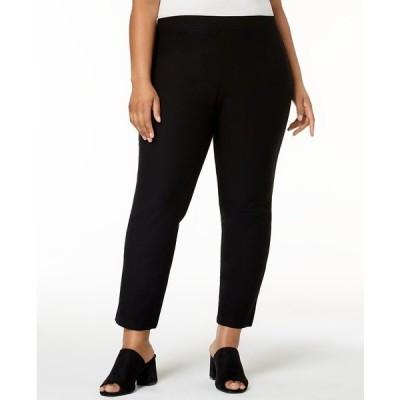 エイリーンフィッシャー カジュアルパンツ ボトムス レディース Plus Size Washable Crepe Slim-Leg Ankle Pants Black