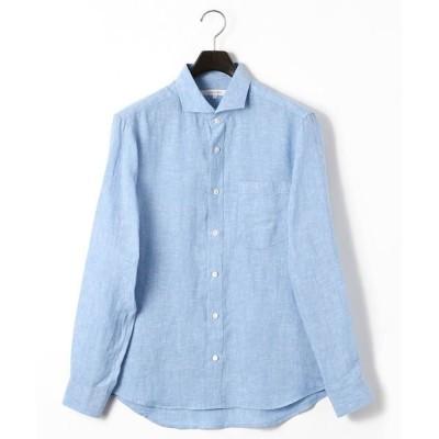 COMME CA MEN/コムサ・メン フレンチリネンシャンブレーシャツ サックス XL