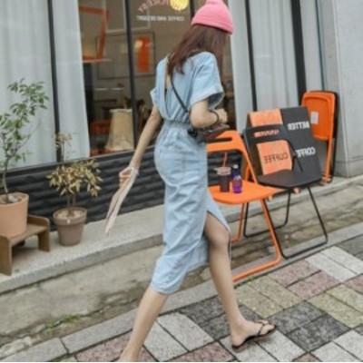 韓国 ファッション レディース デニム ワンピース バックシャン ウエストゴム スリム デニム シャツワンピース 夏服 レディース 夏物 ワ