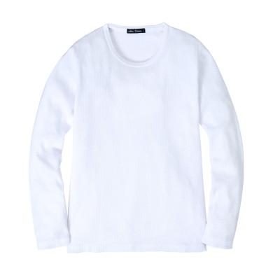 ワッフル クルーネック長袖Tシャツ(細身設計) Tシャツ・カットソー, T-shirts,