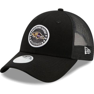 ニューエラ New Era レディース キャップ トラッカーハット 帽子 Baltimore Ravens Black Sparkle Adjustable Trucker Hat