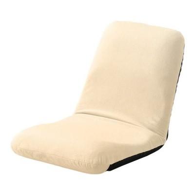 背筋ピン 座椅子/パーソナルチェア 〔Mサイズ ベージュ 起毛生地〕 約幅43cm スチールパイプ リクライニング 日本製〔代引不可〕