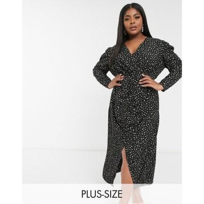 チチロンドン ドレス 大きいサイズ レディース Chi Chi London Plus long sleeve shirt dress with split in print エイソス ASOS ブラック 黒
