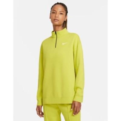 ナイキ レディース シャツ トップス Nike Trend Fleece quarter-zip sweatshirt in lime Lime