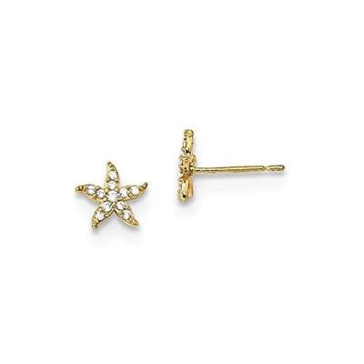 【新品】Solid 14k Yellow Gold Children's CZ Cubic Zirconia Starfish Post Studs Earr