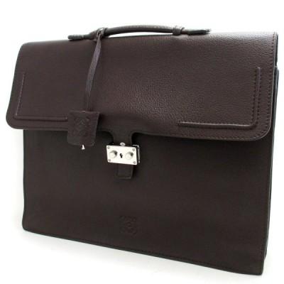 ロエベ バッグ ブリーフケース メンズ ダークブラウン レザー 鍵つき LOEWE ビジネスバッグ 書類鞄 ハンドバッグ