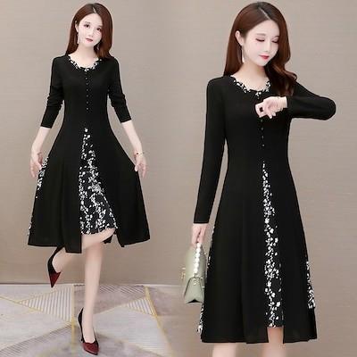 春に入る前の準備 韓国ファッション CHIC気質 大きいサイズ 春新 エスニック風プリント 縫付 ミディアムロング ドレス