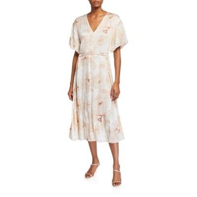 ヴィンス レディース ワンピース トップス Painted Magnolia V-Neck Midi Dress