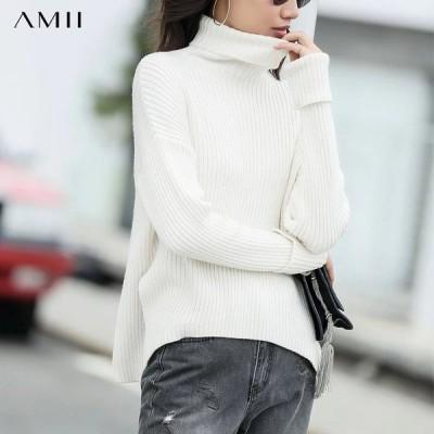 海外輸入アパレル AmiiHarajukuセーター韓国女性の新しい秋のハイカラープルオーバードロップラウンドスリットブラウス11820060  Ami