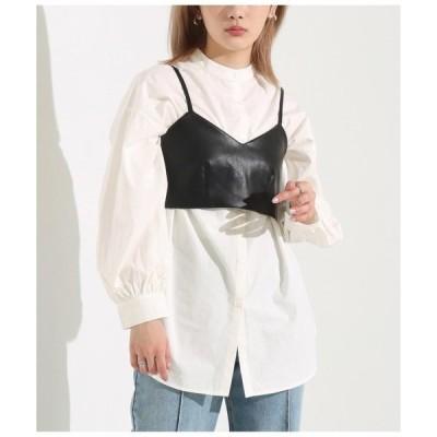 シャツ ブラウス フェイクレザービスチェ×ブロードバンドカラーシャツセット