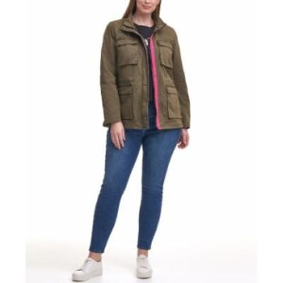 リーバイス レディース ジャケット・ブルゾン アウター Trendy Plus Size Cotton-Twill Stand-Collar Military Jacket Olive