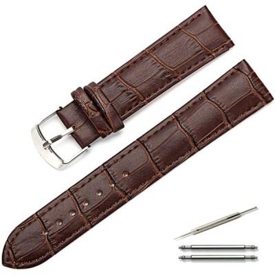 Calme(カルム) 腕時計 ベルト 本革 クロコ型押し レザー 時計 バンド 交換ベルト 12  22 交換説明書付き (17, ダークブラ