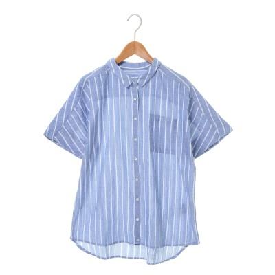カディ風コットン ストライプドルマン半袖シャツ