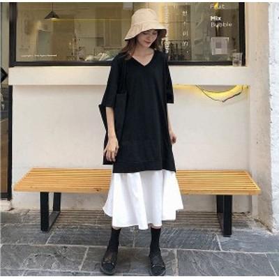 【三太郎の日ポイント3倍】 予約商品 大きいサイズのレディース  ワンピース 重ね着デザイン Vネック フレアスカート ドッキング オーバ