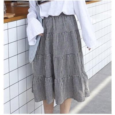 Aライン春新作スカートロングスカートマキシスカートフレアスカートプリーツスカートチェック柄大きいサイズフレアスカート