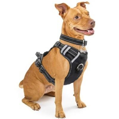 WINSEEドッグハーネスM(ブラック)調節可能な首周り(約37cm~57cm)反射調節可能  ペット用ベスト WINSEE Dog Harness, No-Pull Walking P