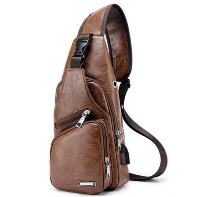 ボディバッグ ボディーバッグ ショルダーバッグ メンズ ブラウン USBポート 鞄