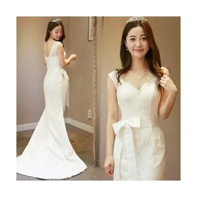 ウェディングドレス 二次会 マーメイドライン ウエディングドレス 安い 花嫁 ロングドレス 披露宴 結婚式 マーメイドドレス ブライダル サッシュリボン wedding